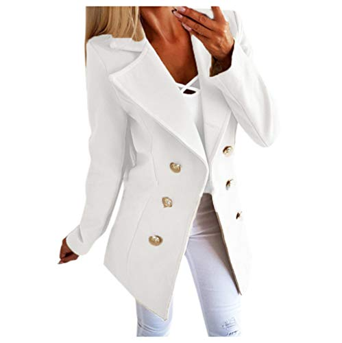 E-Scenery Womens Blazer Coat Plus Size Buttons Open Front Military Office Jacket Outwear White