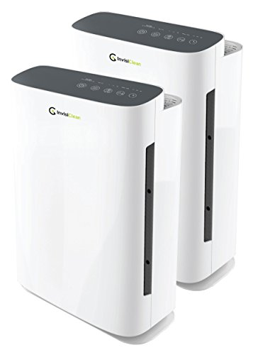 InvisiClean Aura Air Purifier – 4-in-1 True HEPA, Ionizer, Carbon + UV Sanitizer – Air Purifier Allergies & Pets, Home, Large Rooms, Smokers, Dust, Mold, Allergens, Odor Elimination (2 Pack Set)