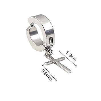 VVSBAOZI Crystal Pendientes Clip de oreja de acero de titanio de los hombres coreanos hombres y ...