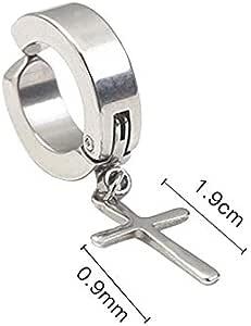 VVSBAOZI Crystal Pendientes Clip de oreja de acero de titanio de ...
