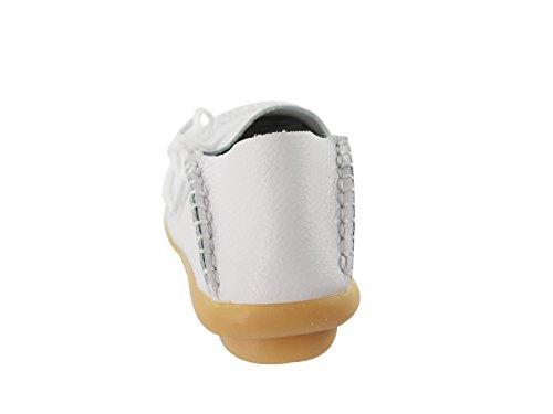 Secolo Stella Donna Casual In Pelle Morbida Comfort Lace-up Annodato Pantofole Mocassini Scarpe Da Barca Pantofole Mocassini Guida Piatte Bianco