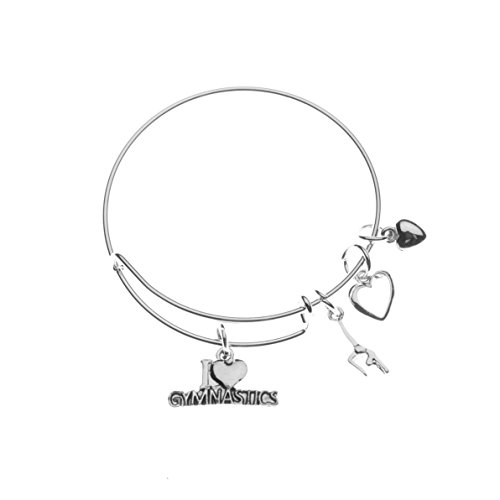Gymnastics Bangle Bracelet- Girls Gymnastics Bracelet- Gymnastics Jewelry For Gymnast ()