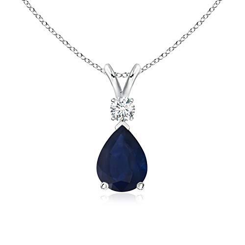 (Blue Sapphire Teardrop Pendant with Diamond in Platinum (8x6mm Blue Sapphire) )