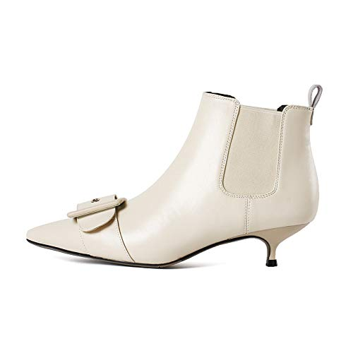 Stiletto à Courtes White Femme Talons Rice Bottines Pointus pour wFfOxaxIq