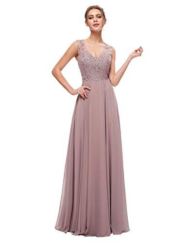 Sarahbridal Women's Chiffon Prom Dress Long 2019 Applique Sequin Bridesmaid Party Gowns Mauve US8