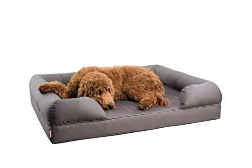 "Petlo Orthopedic Pet Sofa Bed - Dog, Cat or Puppy Memory Foam Mattress Comfortable Couch for Pets with Removable Washable Cover (XL - 46"" x 36"" x 10"", Grey)"