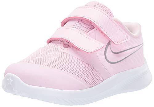 Nike Boys Star Runner 2 (TDV) Sneaker Pink Foam/Metallic Silver - Volt 7C Toddler US Toddler (Nike Revolution 2 Toddler Boys)