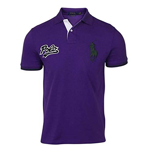 (Polo Ralph Lauren Mens Custom Slim Fit Big Pony Polo Shirt (S, Purple))