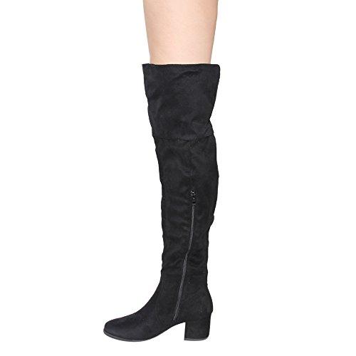 Nature Breeze Frauen FF00 über die Knie Mid High Block Heel Stiefel Schwarz