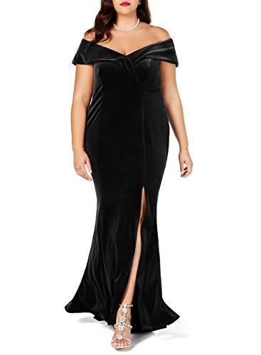 Lalagen Women Plus Size Off Shoulder Velvet Formal Gown Evening Party Dress Black XXXXL
