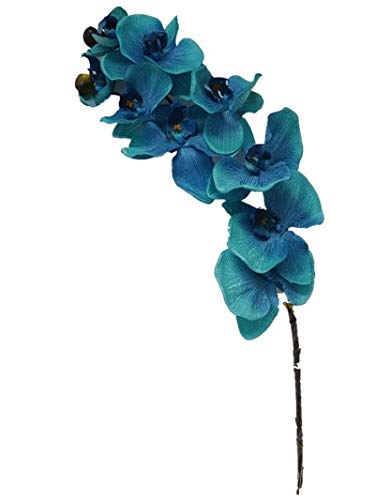 - Sweet Home Deco 38'' Flannel Phanaenopsis Orchid Silk Artificial Spray (10 Flower Heads) in 7 Beautiful Colors (Blue)