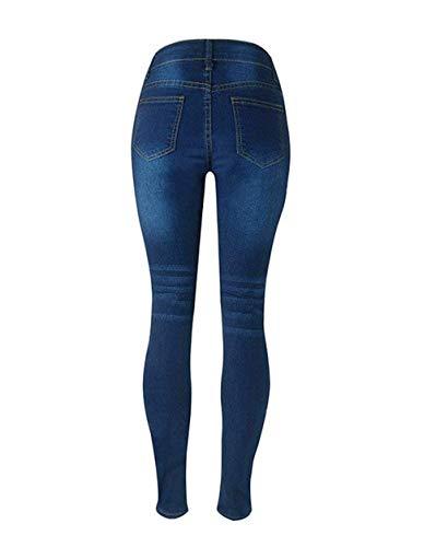 De Pitillo Pantalones Mujeres Vaqueros Mezclilla Casuales Elásticos Libre Lápiz Dunkel Aire Blau Mujer Cintura Alta Al Para P84dxrq8wT