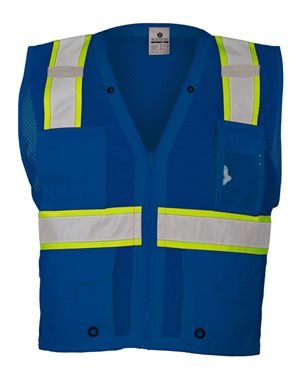 Purpose High Visibility Vest - ML Kishigo Men's Enhanced Visibility Multi-Pocket Mesh Vest - Royal Blue, 2XL/3XL, Model# B102-2X-3X