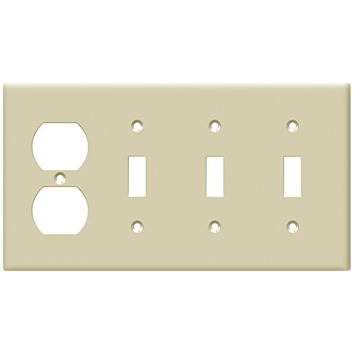 ENERLITES Combination Toggle Light Switch/Duplex Receptacle Outlet Wall Plate, Size 4-Gang 4.50