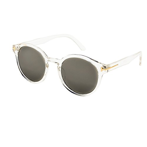 Stylle Round Sunglasses Crystal and Gold Frame with Silver Mirror (Crystal Silver Mirror)
