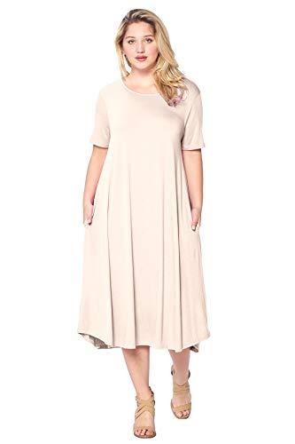 (Modern Kiwi Plus Size Short Sleeve Flowy A-Line Pocket Midi Maxi Dress Cream 2X)