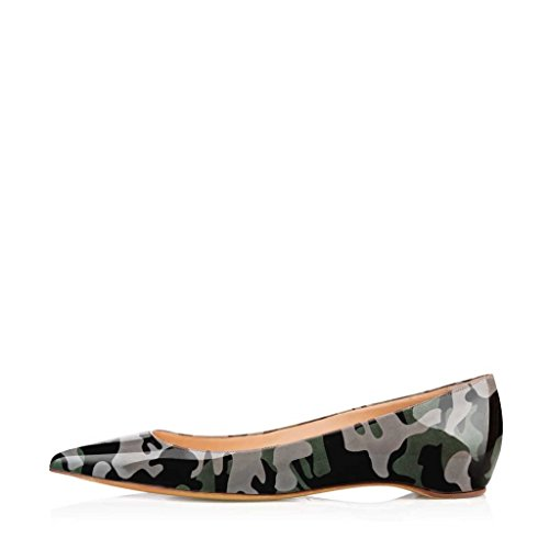 Toe FSJ Print Flat Shoes Camouflage Pointed multicolored2 US Size 15 Pumps with on Comfortable Women 4 Slip t8wr8A