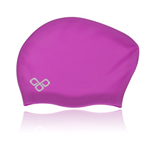 Waterproof Extra Large Swim Caps for Long Hair - Silicone Swimming Cap Dreadlocks Women & Ladies That Keeps Hair Dry (Purple)