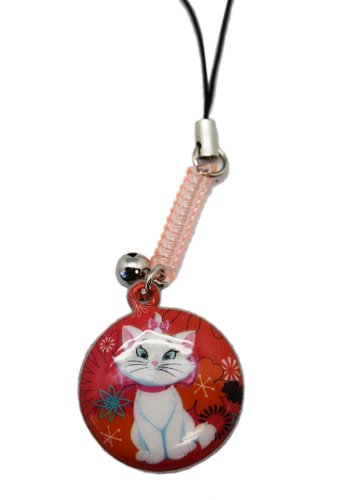 Red Flower Medalion Marie the Cat Cellphone Charm Keychain