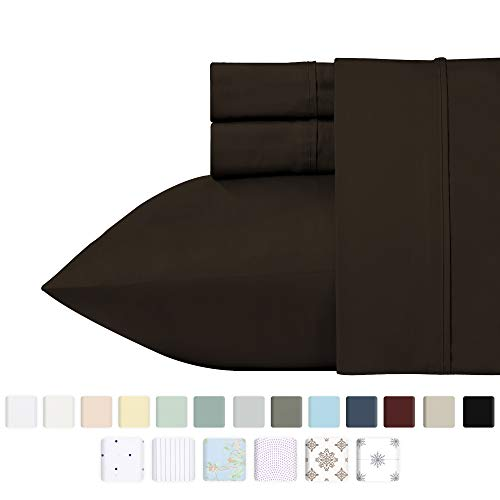 400 Thread Count 100% Cotton Sheets, Chocolate Brown Queen Size Sheet Set, Highest Quality Long-staple Combed Pure Natural Cotton Bed Sheets, Soft Sateen Sheets Fits Mattress Upto 18 Deep Pocket
