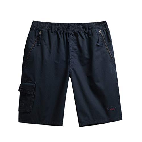 iCODOD Fashion Men's Shorts Solid Color Zipper Beach Pocket Fitness Sport Casual Swim Trunks Shorts Pants Blue XL