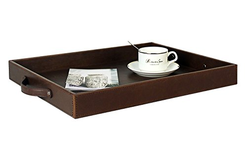 Utility Rectangular Serving Tray with Handles, Coffee Tray For All Occassion's, PU leather, Brown, 17.7 x 13.8 x 2 (Leather Ottoman Tray)
