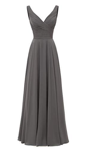 (AlfaBridal Long Bridesmaid Dresses Double V Neck Chiffon Wedding Evening Gown Dark Grey US12 )