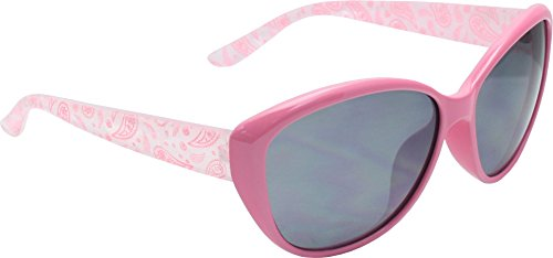 True Gear iShield Ladies Paisley Temple Sunglasses (Pink Crystal with Smoke Flash Mirror - Jackie Sunglasses Oh