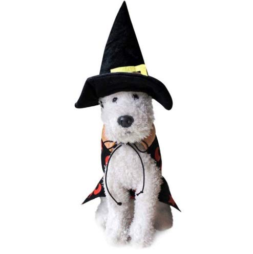 Taka Co Dog Halloween Costume Dog Costume Cloth Halloween Party Wizard Cloak with Hat Doggy Funny Festival Clothes Cat Dog Jacket Vest Size L