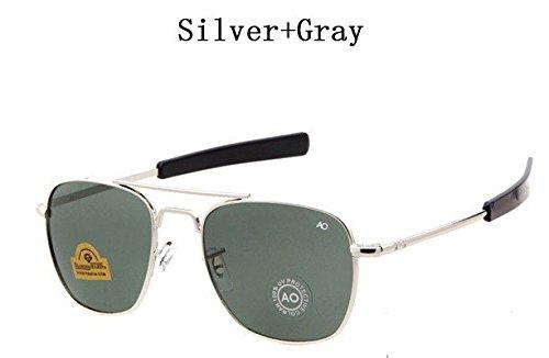 2018 Newest Military AO Brand Sunglasses Men Optical Glass Lens Metal Alloy Frame Pilot Sun Glasses Oculos De Sol Masculino Silver Gray COLOUR