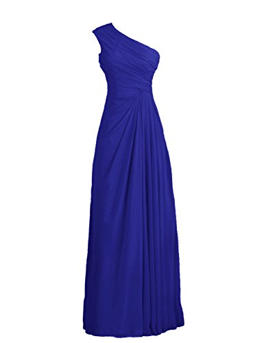 Tidetell Simple One Shoulder Long Party Evening Chiffon Bridesmaid Dresses Royal Blue Size 8