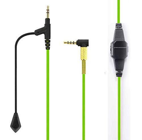 LS LOVINSTAR Cable Boom Micrófono Volumen para comunicación de juegos PS4 Xbox One PC Laptop para Sony MDR-100ABN MDRXB950BT, MDRXB650BT, MDR1000X, WH1000XM2, XB950N1 MDR-1A WH-1000XM3 Auriculares (Verde)
