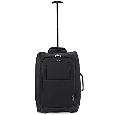 """5 Cities® 21"""" Cabin Size Black Ripstop Material Wheeled Holdall Trolley Bag. Only 1.65kg and 42L Capacity - luggage"""