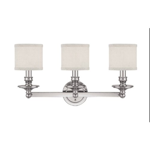 Capital Lighting 1238PN-451 Vanity with White Fabric Shades, Polished Nickel Finish -