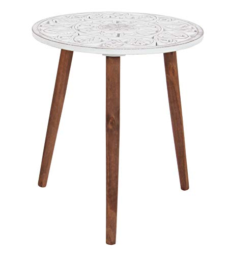 Deco 79 Wood Carved Table, 19 x 21 , White Brown