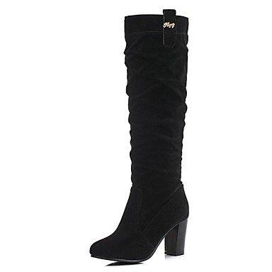 donna nero Desy e nabuk arrotondata stivali cammello moda inverno pelle al scarpa grosso stivali stivali per abito in casual polpaccio punta tacco da rExX7BwqE