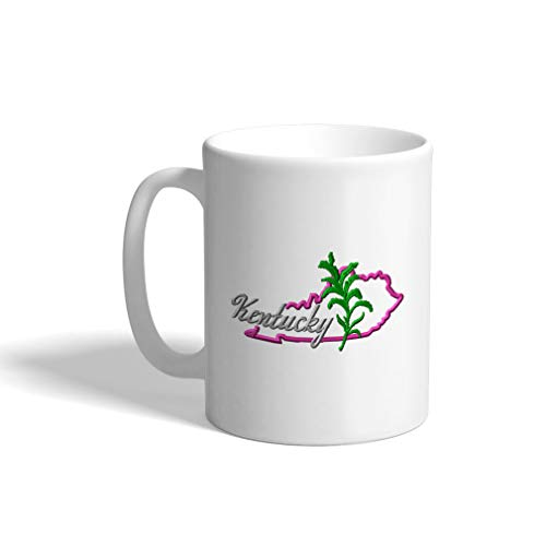 Ceramic Funny Coffee Mug Coffee Cup State Kentucky Flower White Tea Cup 11 Ounces (Flower Kentucky State)