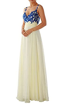 MACloth Gorgeous Lace Straps Long Prom Dress V Neck Formal Party Evening Gown (4, Royal Blue)