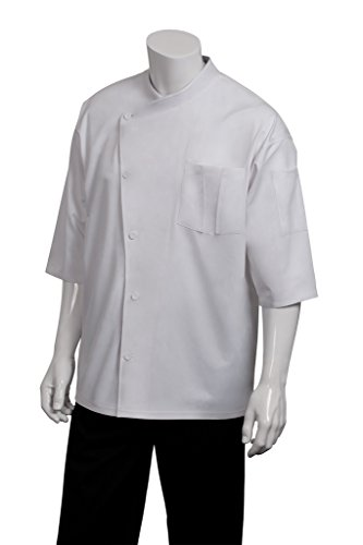 Chef Works Men's Positano Signature Series Chef Coat, White With White Piping, Medium by Chef Works