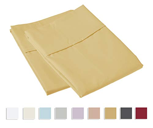 Luxurious 800 Thread Count Cotton Standard Pillowcases Wheat, 100% Long Staple Cotton Cool Satin Pillowcase, Thickly Woven Set of 2 Pillow Covers (Wheat Standard Size 100% Cotton Pillow Cases)