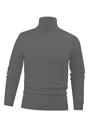 Interlock Turtleneck Cotton Mens (Heather Grey Men's Combed Cotton Euro Design Ski Casual Turtleneck (X-Large))