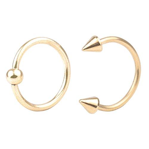 feiyan86 Yans 16G 2pcs Surgical Steel Nose Septum Horseshoe Hoop Earring Eyebrow Tragus Lip Piercing Ring 3mm Ball\Spike 10mm ()