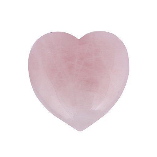 Bingcute Heart Shaped Rose Quartz Puffy Heart Stone 40mm (1.6