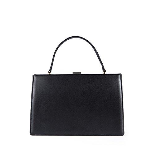 - Viviesta Women's Genuine Leather Large Vintage Clasp Frame Top Handle Handbag