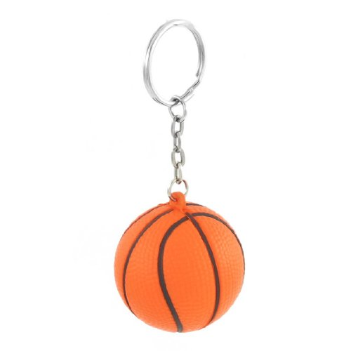 SODIAL(R) Orange Black Basketball Shape Sport Stress Ball Link Chain Key Ring