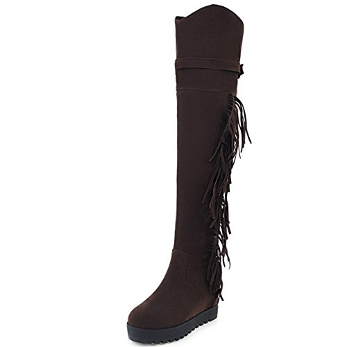 Long Hiver Femmes Chaussures Compense brown Zanpa Bottes qSaOwA6HH