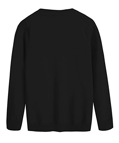 RJXDLT Girls Cardigan Knit Sweaters Long Sleeve Button Cotton Sweater 9-10Y Black by RJXDLT (Image #3)