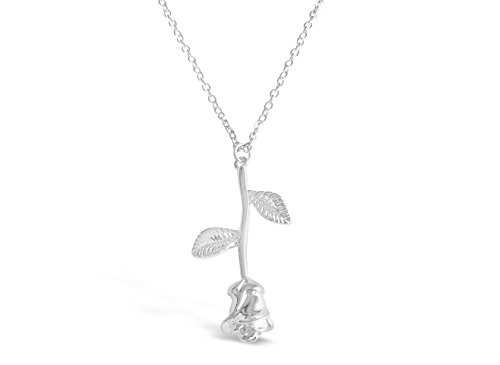 Rosa Vila 3D Rose Necklace, Romantic Rose Gifts for Women, Flower Pendant Necklace, Beauty and The Beast Jewelry, Rose Jewelry, Rose Pendant Necklace (Silver Tone)