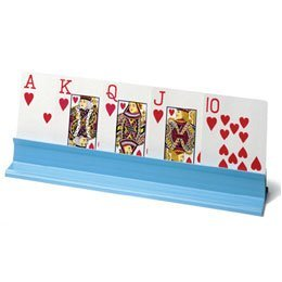 Sammons Preston Plastic Playing Card Holder, 10'' Long x 2'' Wide x 1.25'' High, Lightweight & Stable with Easy-Entry Slots, Wide Area at Base for Easy Holding, Organize Playing Cards for Any Game