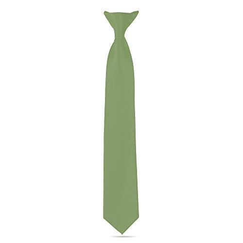 Ties For Boys - Clip On Tie Woven Boys Ties: Neckties For Kids Formal Wedding Graduation School Uniforms (Sage Green) ()